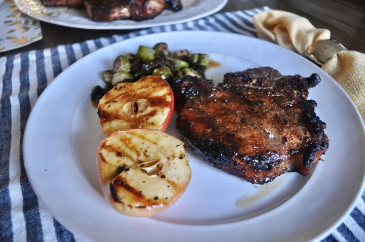 Apple Cider Glazed Pork Chops with Crispy Brussels Sprouts and GrilledApples